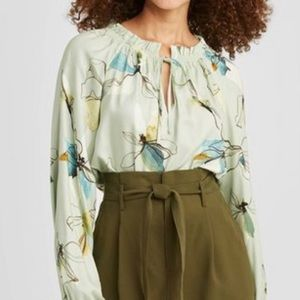 A New Day, NWT/ Mint Floral, long sleeve blouse, L